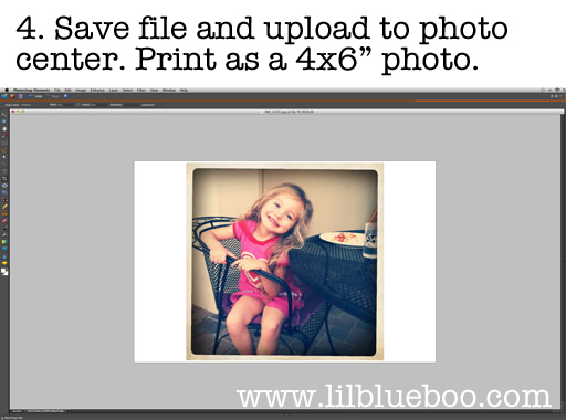 Upload Resized 4x6 ratio Instagram to any Photo Center via lilblueboo.com