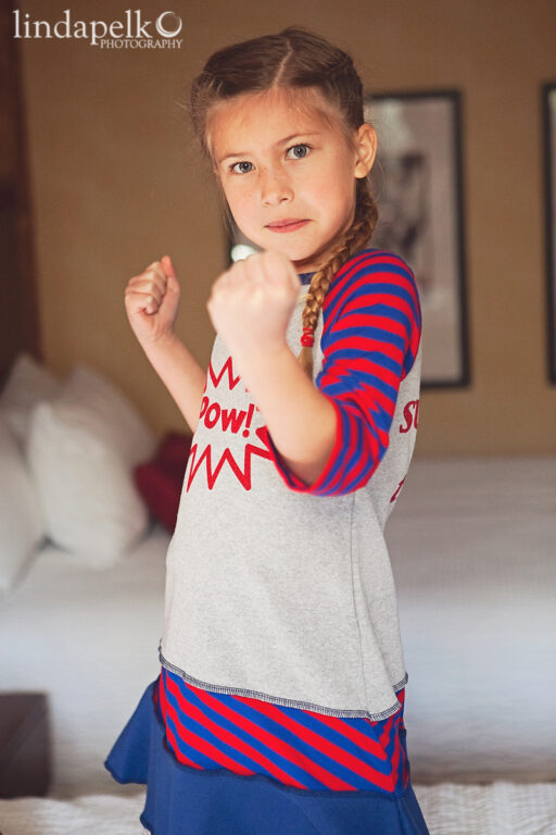 Super Hero in Training Dress by lilblueboo.com