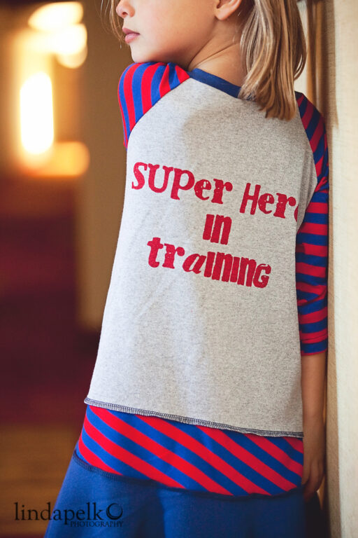 Back of Dress: Super Hero in Training Layering Dress at lilblueboo.com