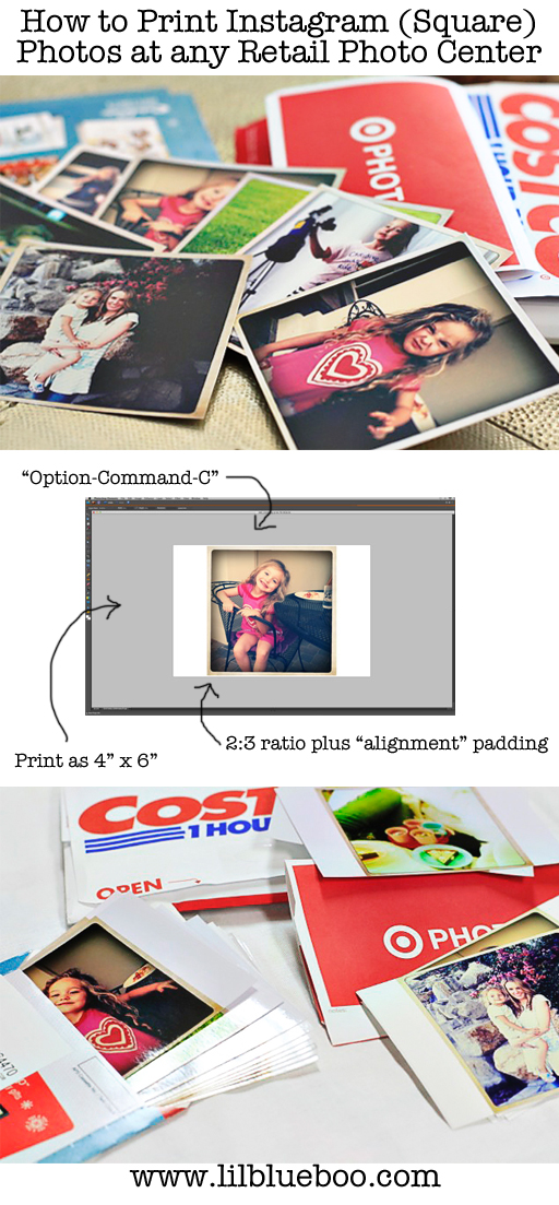How to Print Instagram or any Square Photo at any Photo Center via lilblueboo.com