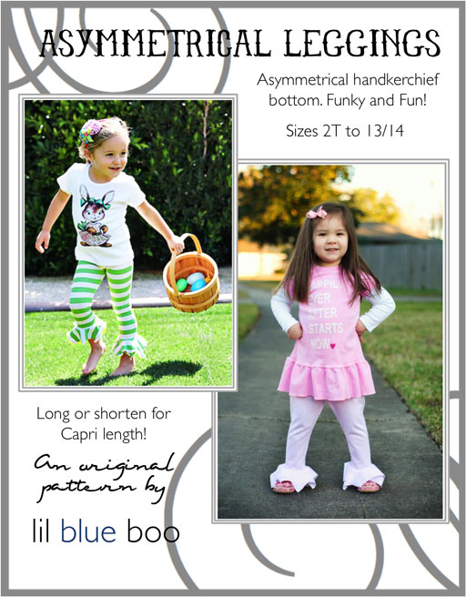 Asymmetrical Leggings PDF Pattern (American Girl Sized Pattern Also Available)  via lilblueboo.com