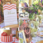 Coral, Gold and Chevron Table Decor