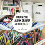 Organizing and Recycling Junk Drawer Contents via lilblueboo.com
