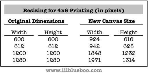 Sample Dimensions for readjusting Instagram Photos via lilblueboo.com