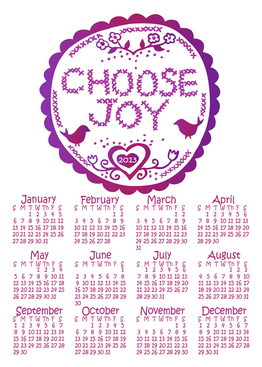 2013 Choose Joy Free Year at a Glance Printable Calendar via lilblueboo.com