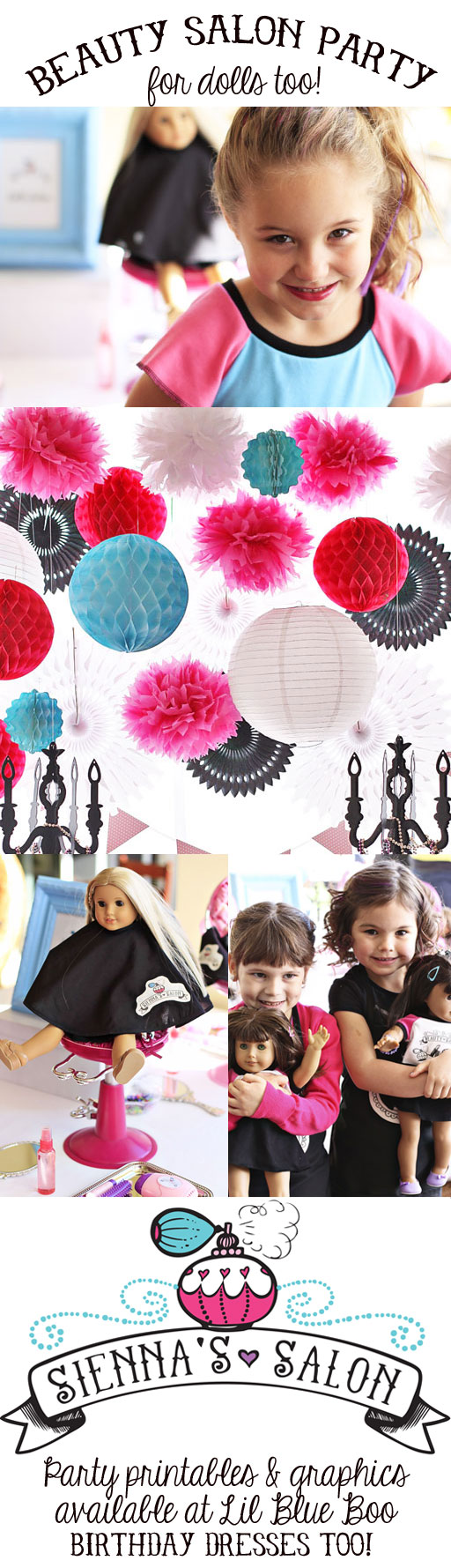 A Beauty Salon Glam Birthday Party with Mini Doll Salon via lilblueboo.com