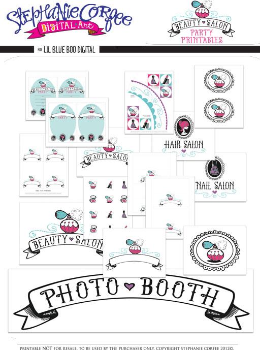 Beauty Salon Party Printable Package by Stephanie Corfee via lilblueboo.com