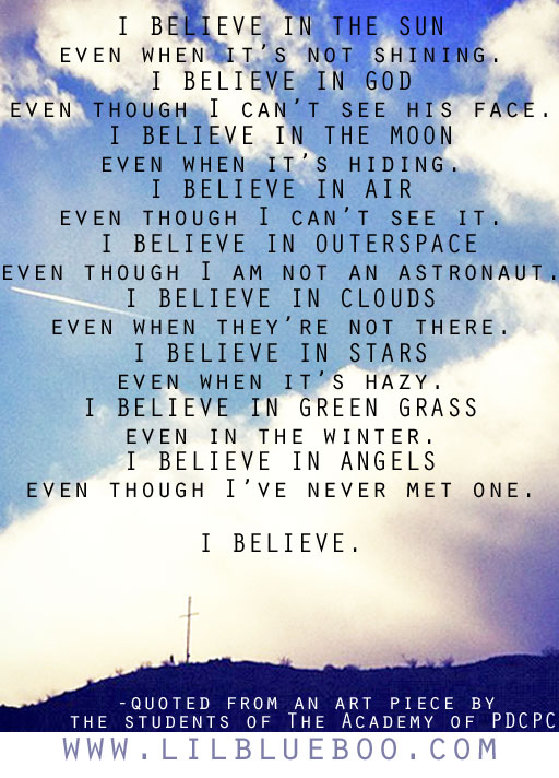 """I believe"" quote from art piece by students"