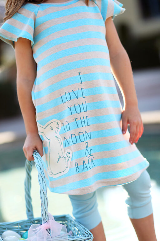 Handmade I Love You to the Moon and Back dress with Easter Bunny Applique via lilblueboo.com