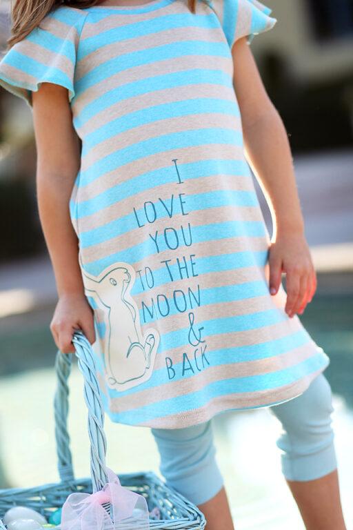 Handmade I Love You to the Moon and Back dress with Easter Bunny Applique via lilblueboo.com