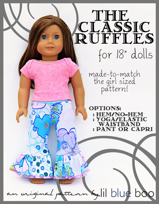 American Girl Style 18 inch Doll Ruffle Pant PDF Sewing Pattern (12M to 12 Year Girl size available too) by lilblueboo.com  #diy #tutorial #americangirl