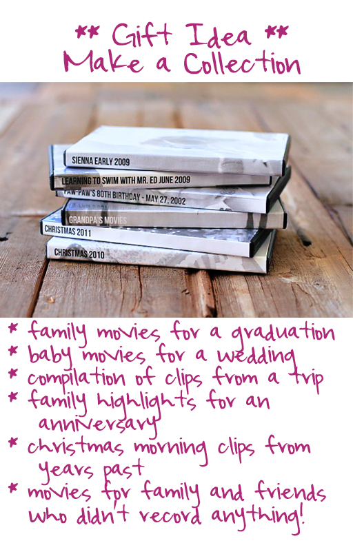 Meaningful gift idea: copies of home movies as a collection via lilblueboo.com