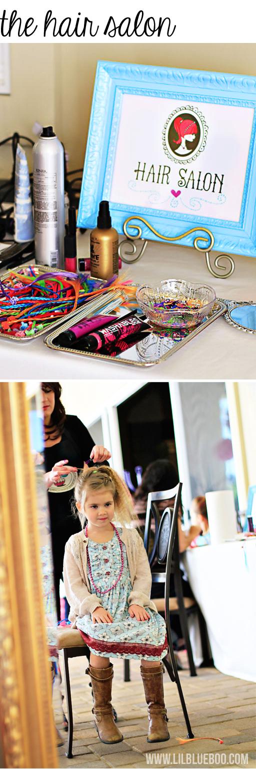 Hair Salon Party via lilblueboo.com #americangirl #party #diy