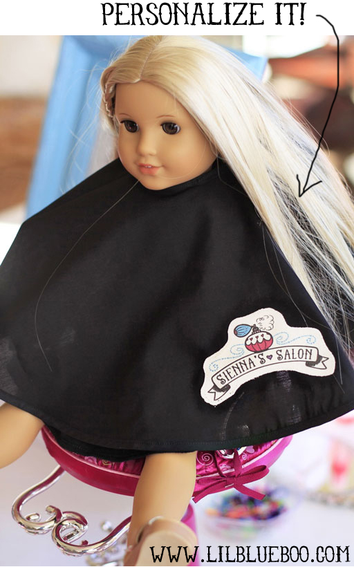 Personalized doll-sized cutting cape via lilblueboo.com #americangirl #tutorial