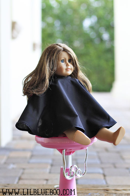 "DIY doll salon cape and where to purchase 18"" doll salon chair via lilblueboo.com"