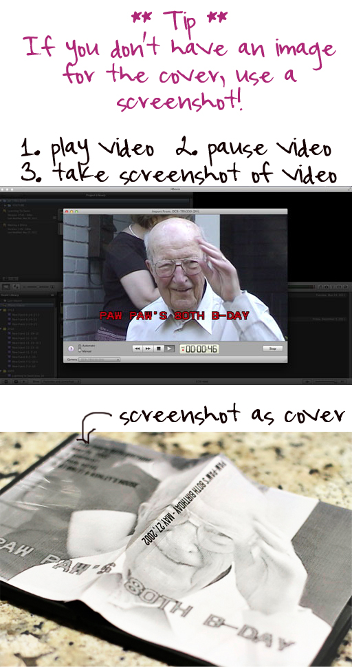 Tip: take a screenshot of paused video to create the image for the DVD cover via lilblueboo.com (home movie organization series)