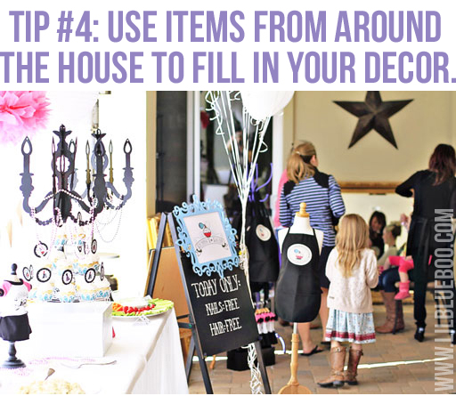 Use items from around the house: Lil Blue Boo's Top 10 DIY Party Tips and Behind the Scenes via lilblueboo.com