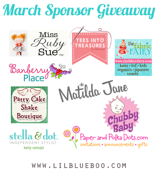I want to win the big March Sponsor Giveaway at lilblueboo.com