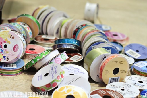 Diy ribbon storage ideas via lilblueboo.com