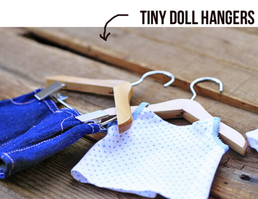 Tiny Wood Doll Hangers via lilbluebo.com $0.75