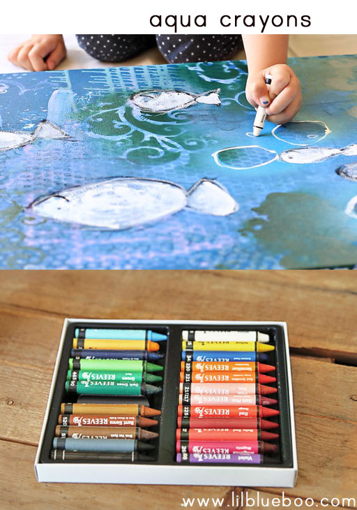 tips for painting with children (water soluble crayons) via lilblueboo.com