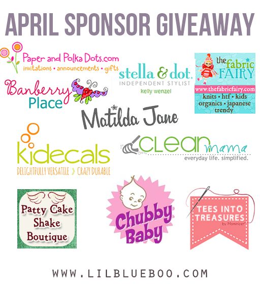 I want to win the big April Sponsor Giveaway at lilblueboo.com