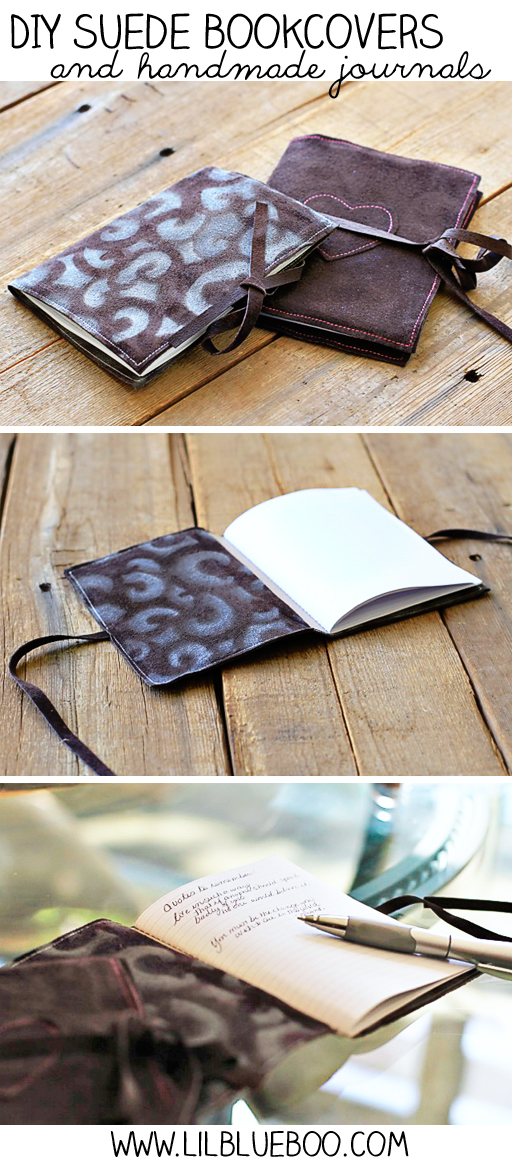DIY Suede Covers and handmade journals via lilblueboo.com #journal #handmade #tutorial #diy #theliljournalproject
