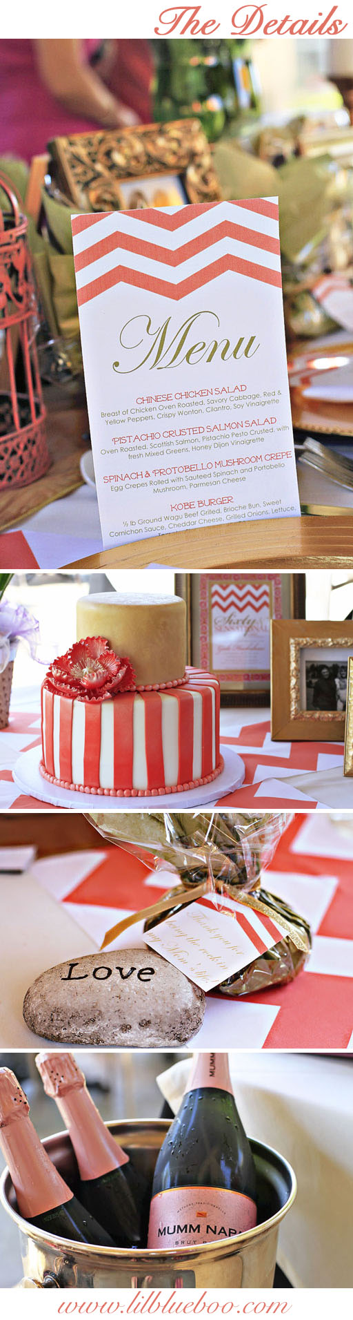 Table Decoration Ideas in Coral, Gold and Chevron via lilblueboo.com #diy #party #decor #chevron #coral