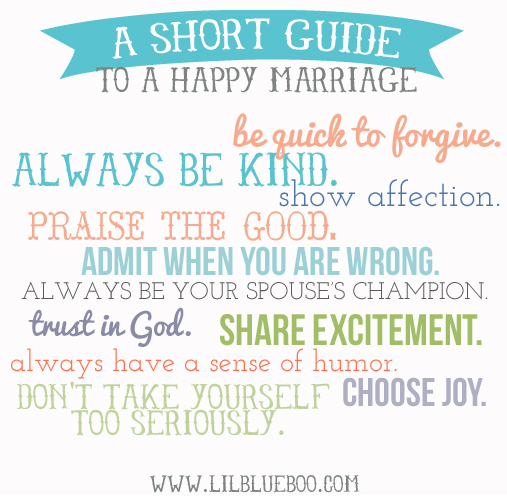 A short guide to a happy marriage via lilblueboo.com