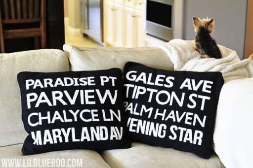 how to make subway art pillows via lilblueboo.com