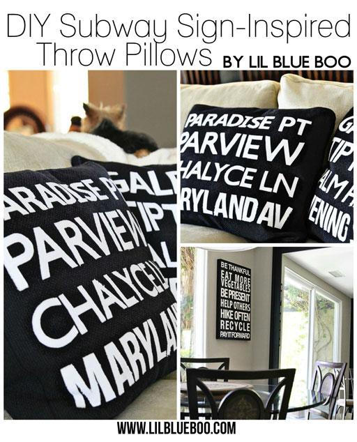 Subway Art Pillows: DIY Subway Sign inspired pillows via lilblueboo.com
