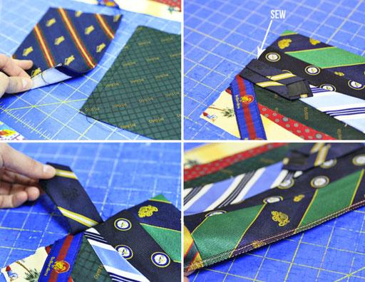 how to make a fabric covered photo album using ties via lilblueboo.com