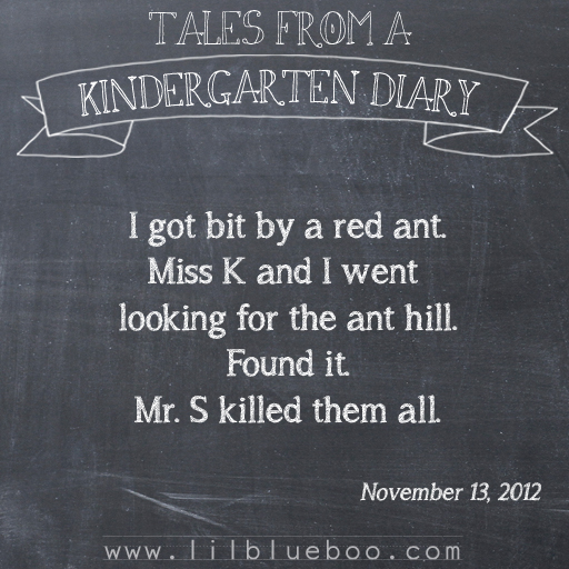Tales from a Kindergarten Diary Entry: Red Ant #booism via lilblueb