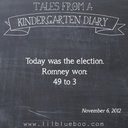 Tales from a Kindergarten Diary Entry: Election #booism via lilblueboo.com