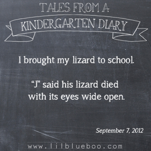 Tales from a Kindergarten Diary Entry: Lizard #booism via lilblueboo.com