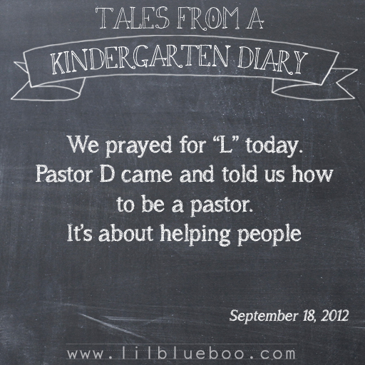 Tales from a Kindergarten Diary Entry: Helping People #booism via lilblueboo.com