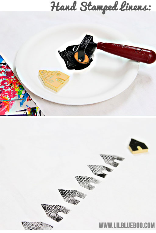 Hand Stamped Table Cloth and Linens via lilblueboo.com