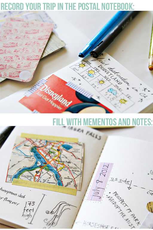 Record your summer trip memories in a postal notebook via lilblueboo.com