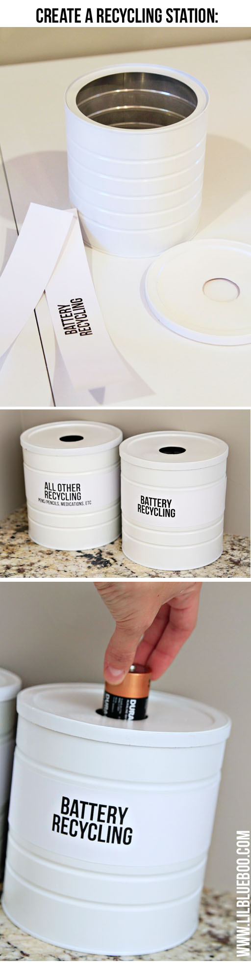 create a recycling station for batteries and other items via lilblueboo.com #recycle #tutorial #DIY