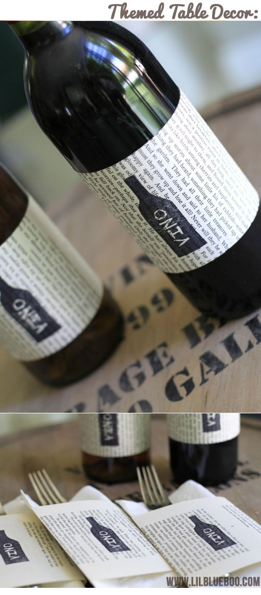 Wine Themed Table Decor using book pages (Wine Tasting Party) via lilblueboo.com