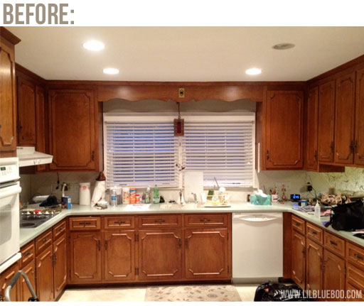kitchen makeover (on a budget) before picture via lilblueboo.com
