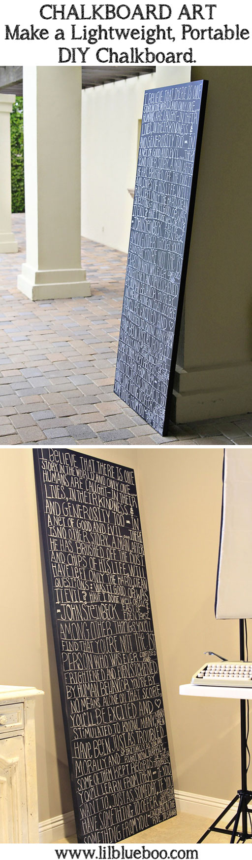 Chalkboard Art: Make a Large Lightweight Portable Chalkboard via lilblueboo.com #diy #tutorial #chalkboard