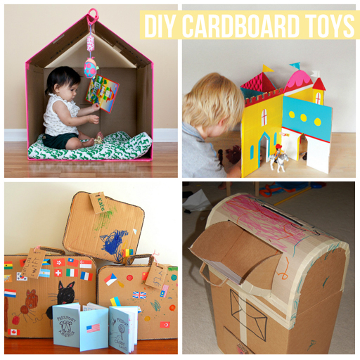 diy cardboard toys for kids via lilblueboo.com #diy #toys #tutorial #recycled