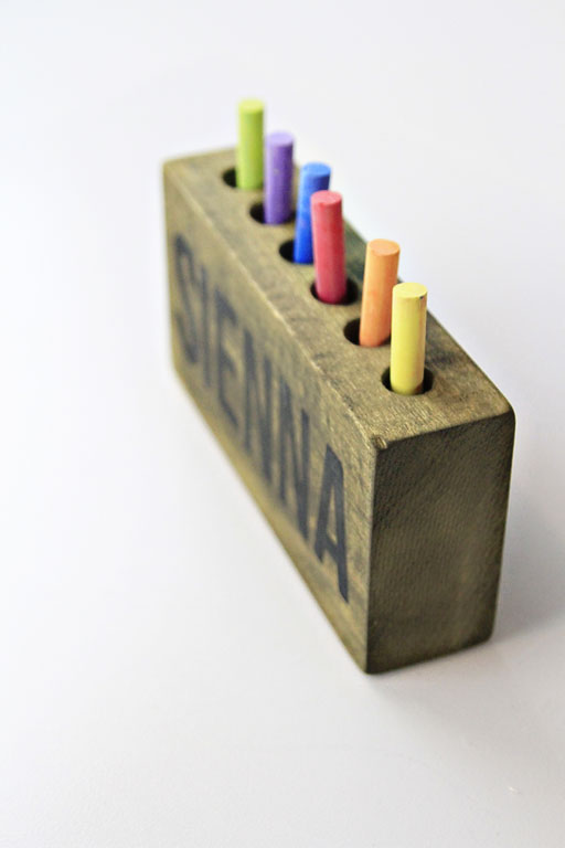DIY rustic wood pencil holder via lilblueboo.com