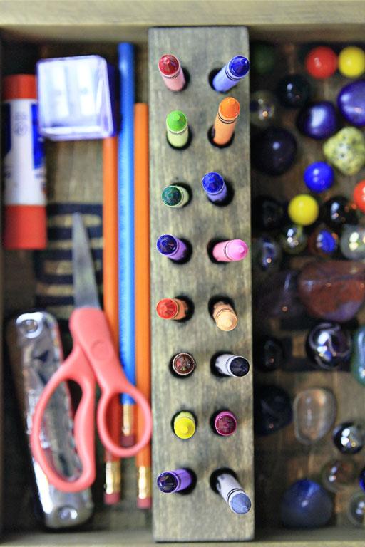 organizing kid school supplies art supplies via lilblueboo.com