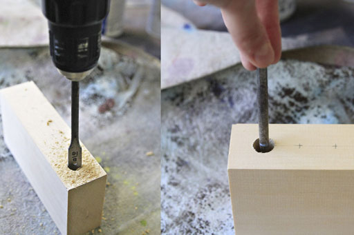 how to bore a hole into wood block via lilblueboo.com