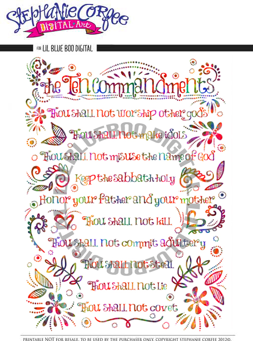 Ten Commandments Print Download by Stephanie Corfee via lilblueboo.com #printable #christianity #quote