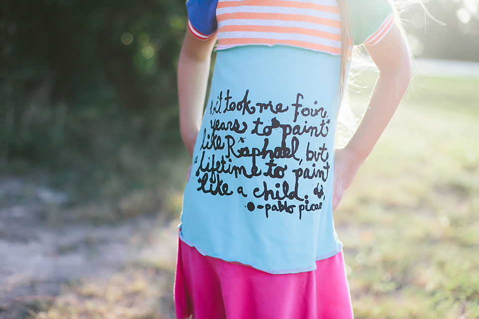 Picasso Quote on the August Dress of the Month for the Li'l Artist from 6M to 12 Years via lilblueboo.com Photography by Christina Anglum