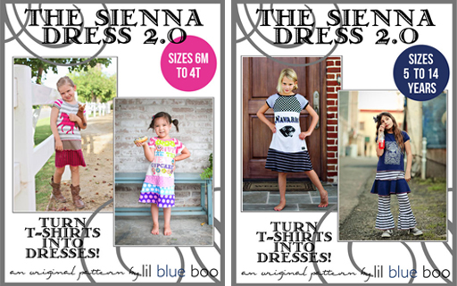 The Lil Blue Boo Sienna Dress 2.0 PDF Sewing Pattern and Tutorial is here via lilblueboo.com