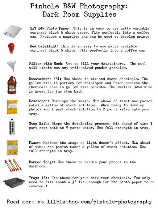 Printable Basic Dark Room Supply List (Pinhole Camera Series) via lilblueboo.com  #pinhole #pinholephotography #photography #exposure #darkroom